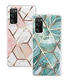 Togestar 2 Stück Marmor Hülle für Samsung Galaxy S20 FE, Silikon Handyhülle Marble Muster Hülle, Weich TPU Handyhülle Ultra Dünn Flexibles Schutzhülle, Grün und Rosa