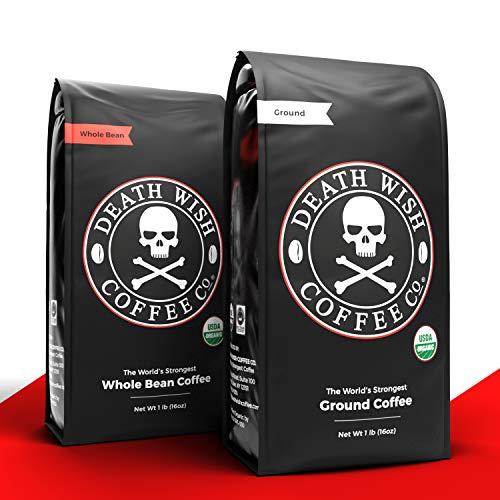 DEATH WISH Ground Coffee [80 Oz.] Bundle with DEATH WISH Whole Bean Coffee [80 Oz.] | The World's Strongest Dark Roast Coffee | USDA Certified Organic, Fair Trade | Arabica and Robusta Beans