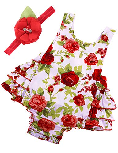 PrinceSasa Baby Girl Clothes Red Rose Floral Ruffles Summer Cake Smash Dress and Headband for Newborn Gifts,A9,13-24 Months(Size L)