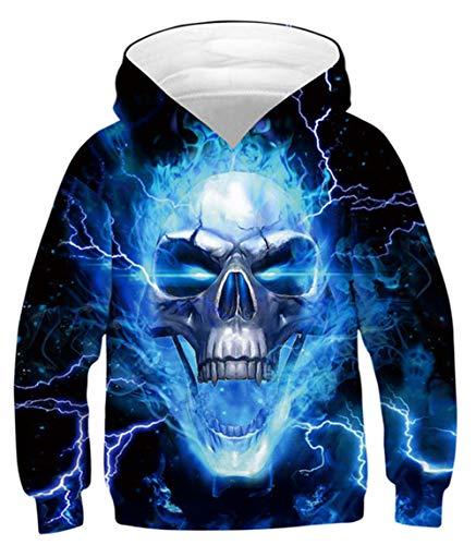 Idgreatim Jungen Pullover Mädchen Sweatshirt 3D Feuer Mit Kapuze Pullover Kleinkind Kinder Neuheit Hoodies mit Tasche XL