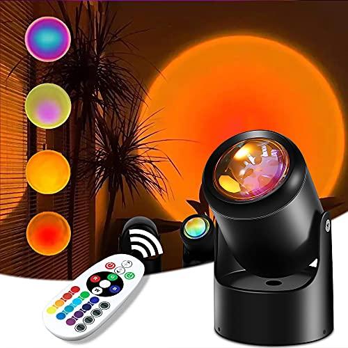 Sunset Lamp 16 Colores, Sunset Projection Lamp 10W,Función de control remoto,Se Puede Girar 180°, Para Crear un Ambiente Romántico, Adecuado Para Festivales, Fiestas, Citas, Familias, Regalos,Bar ✅