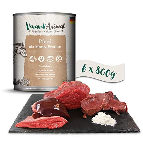 Venandi Animal Premium Nassfutter für Katzen, Pferd als Monoprotein, 6 x 800 g, getreidefrei und naturbelassen, 4.8 kg