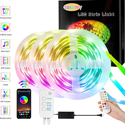 LED Strips Lights with Remote 15m, Changing Rope Lights 49.2ft SMD 5050 RGB Lights Strips APP Sync with Music LED Lighting Strips Kit with IR Remote Mood Light for Decorative Lighting Xmas Party Home