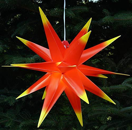 Guru-Shop 3D ytterstjärna Kaspar, Ø 55 cm, julstjärnor, vikstjärna med 18 spetsar, 4 m ytterlinje, LED-lampa – 230 V E14 röd/gul, plast, julstjärna, adventsstjärna