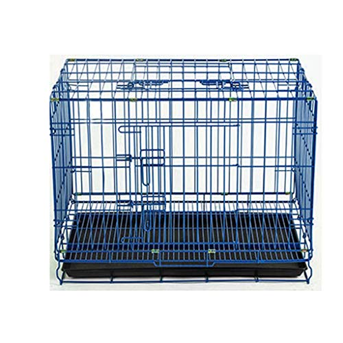 Xiaokeai Dog Crate Blue Dog Crate Dog Cage Dog Kennel Metal Wire Folding Pet Animal Pet Cage With Plastic Tray And Handle Pets Dog Crate (Size : L)