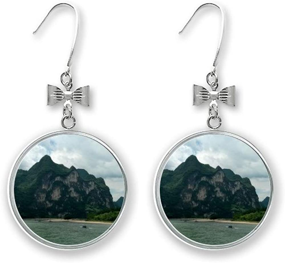 Mountains Los Angeles Mall And Rivers Photography Bow Earrings Drop Pierced Stud Year-end gift