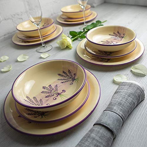 Handmade Lavender Floral Purple and CreamCeramic 12 piece Dinnerware Set | Pottery Tableware Service for 4 | Dinner Plates | Side Plates | Bowls | Housewarming Gift by City to Cottage