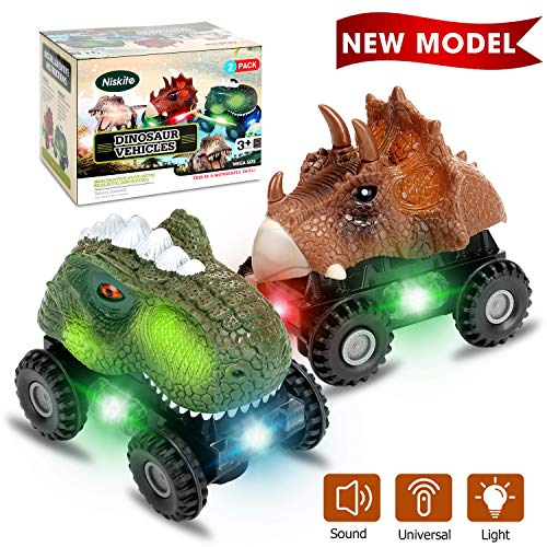 Niskite Dinosaur Toys for 2 3 4 Year Olds Boys, Dinosaur Car for Kids Toddler,Best Gifts for 5-8 Year Old Boy,Most Popular Birthday Presents for Girl Age 6 7 (2 Pack)