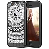 SmartLegend iPhone 5 5S Case, iPhone SE Case, Retro Totem Mandala Floral Pattern Clear Acrylic PC Hard Back Cover with TPU Bumper Frame Hybrid Transparent Protective Case for iPhone 5 5S SE - Black