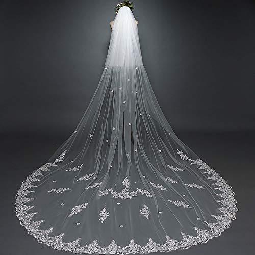 JFSKD Bruiloft sluier, mode trailing sluier dubbele trouwjurk met sluier, na het slepen delicate auto bot kant, ivoor wit zachte tule 3m lange bruidssluier