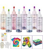 Tie Dye Kit, Sinwind 8 Colores Vibrantes Pinturas Textiles de Tela, con 40 Bandas de Goma, 8 Pcs de Guantes de Plástico, para Tela Pinturas, Actividades del Campus