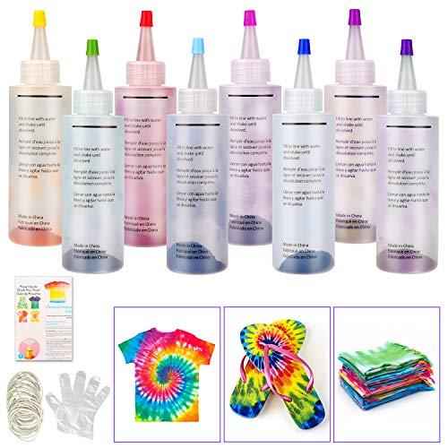 Sinwind Tie Dye Kit, 8 coloranti per Tessuti, Non Tossico, per Tessuti Permanenti a Cravatta Kit, con 40 Pezzi Elastici e 8 PCS di Guanti in Plastica, Ideale per la Moda Fai-da-Te