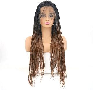 شعر مستعار طويل صناعي منفوش باللون الأسود والبني على شكل العقرب الأفريقي باللون الأسود والبني من إليغي