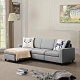 BOSSIN 77'' Small Convertible Sectional Sofa Couch, Modern Linen Fabric L-Shaped Couch 3-Seat Sofa Sectional with Reversible Chaise for Small Living Room, Apartment and Small Space(Light Gray)