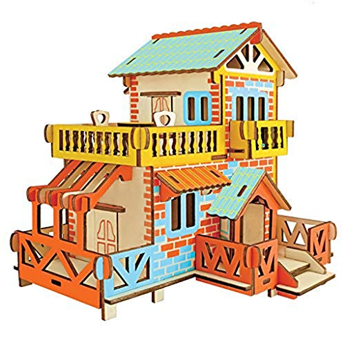 MKJHEDLSC Handmade Puzzle, Natural Wood 3D Puzzle Tiny House Collection Wooden Jigsaw Craft Building Set