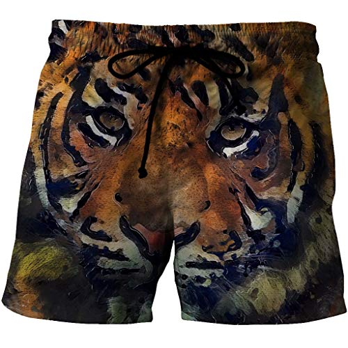 Mens Beach Trunks Board Shorts Quick Dry Casual Cool Olieverfschilderij Tijgerprint Zomer Badkleding Broeken Met Pocket En Mesh Lining (Color : Multi-colored, Size : 3XL)
