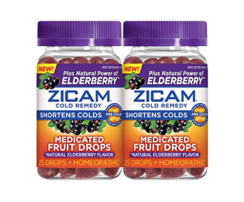 Zicam Natural Elderberry Cold Remedy Medicated Fruit Drops Homeopathic Medicine for Shortening Colds, 25 Count Drops,Pack of 2