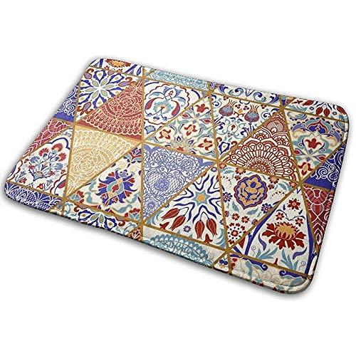 Alfombrilla Alfombra de baño Alfombra Puerta Alfombras Sin Costura Colorido Patchwork Vintage Patrón Multicolor en Estilos turcos