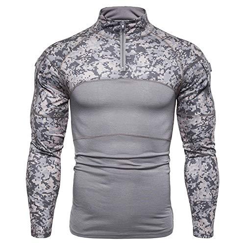 PRJN Mens Sweatshirt Outdoor Fitness Camouflage Long Sleeve Zipper Elastic Comfortable Half Zipper Running top Mens Army Outdoor Fitness Base Shirt Camouflage Long Sleeve Zipper Pocket T Shirt