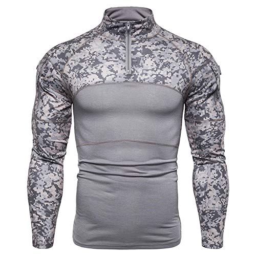 FULUN Hombres de manga larga camuflaje militar combate táctico sudadera ropa deportiva para escalada para hombre casual moda media cremallera collar de algodón lino slim fit jersey camiseta To