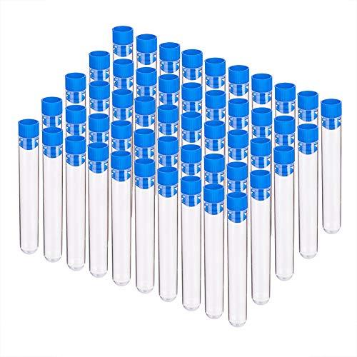 BENECREAT 50 Pack 10ml Tubos de Ensayo de Plástico con Azules Tapas Espiral Botella de Ensayo con Escala Recipiente de Líquedo y Cosas Pequeñas 1.6x10cm