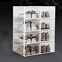 積み重ね可能な靴の収納ボックス,折りたたみ 式 ポータブル クリアプラスチック靴オーガナイザー8パック,組み立てる必要がある 靴棚 ベッドルーム用,クローゼット-A 33.7x23.3x15.3cm(13x9x6inch)