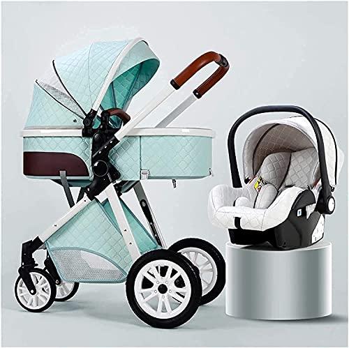 Chilequano Cochecitos para bebés Infantil portátil, CarruplightHight Carriage 3 en 1, Vista altable bebé, Asiento de reclinación Multi-posición, cómodo Sentado y mintiendo bebé (Color : Azul)