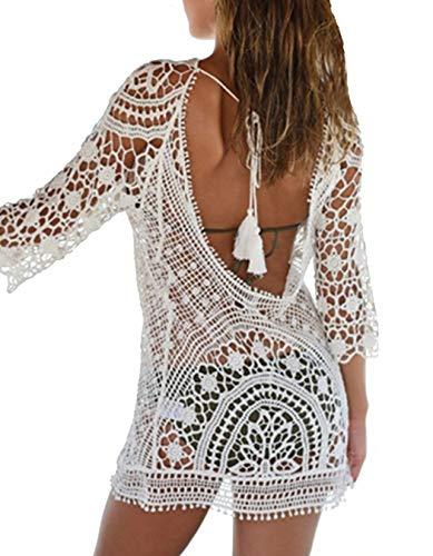 DNFC Damen Strandkleid Rückenfrei Sommer Kleider Kurz Bikini Cover Up Strand Badeanzug Beach Kleid Schöne Spitze Strandkleider für Urlaub (Weiß, One Size)