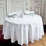 Garnier Thiebaut, Beauregard Blanc (White) Round Tablecloth, 77 Inches in Diameter, 100% Damask Cotton