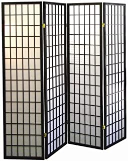 ORE International 4-Panel Shoji Screen Room Divider, Black