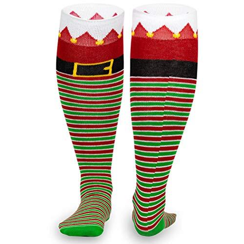 Christmas Woven Knee High Running Socks | Santa's Elf