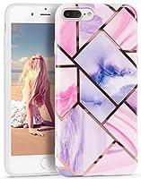 Imikoko iPhone 8plus ケース iPhone 7plus スマホケース 耐衝撃 大理石 かわいい ストラップホール付き ブランド 指紋防止 Qi充電対応 TPU ソフトケース (アイフォン7plus/8plus ピンク&紫)