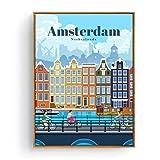 SDGW Turismo Amsterdam Bangkok Barcelona Berlín Arte Pintura Cartel Impresiones Lienzo Imagen para La Decoración De La Habitación del Hogar-50X70Cm Sin Marco