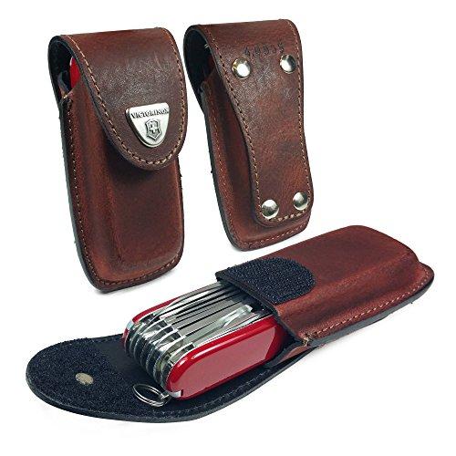 Victorinox Victorinox Couteau de poche / Pochette en cuir véritable Swiss Army Pen Stylet avec attache crochet (5-8 couches) [Huntsman, Swiss Champ, Cyber Tool, Outrider] - Bru