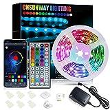 LED Strip 6m Bluetooth, CNSUNWAY Steuerbar via App und IR Fernbedienung, mit Musikmodus, SMD5050 RGB Band Licht Farbwechsel Lichtleisten Kit für Schlafzimmer Küche Decke TV Bar Party