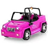 AOKESI Off Road Vehicle for Dolls, Glittering Magenta Convertible Dolls Vehicle with Working Seat Belts Great Girls Gift Dolls Toy Car