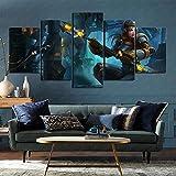 LOL Glorious Girl Lux Canvas Wall Art Pictures 5 piezas Decoración de hotel 150x80cm Sin marco