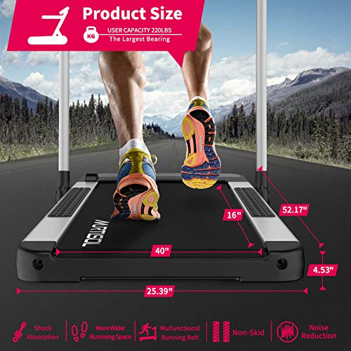 Murtisol 2 in 1 Folding Treadmill, 2.25HP Under Desk Electric Treadmill, Installation-Free with APP, Remote Control and LED Display, Portable Walking Machine for Home, Office & Gym (Sliver)