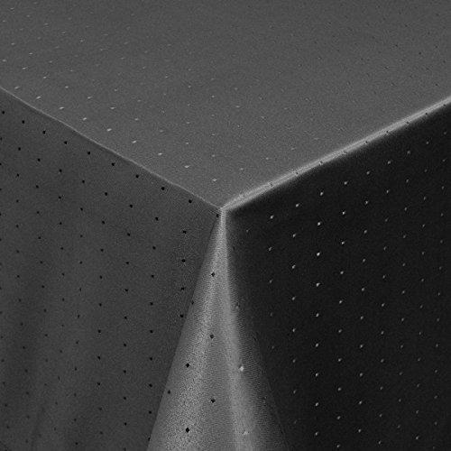 MODERNO Tischdecke Damast Stoff Tischtuch Bügelarm Punkte mit Saum, eckig 80x80 cm in Schwarz - mit umgenähtem Rand und Öko Tex Zertifikat - Premium Qualität - Eckig Oval Rund Größe und Farbe wählbar