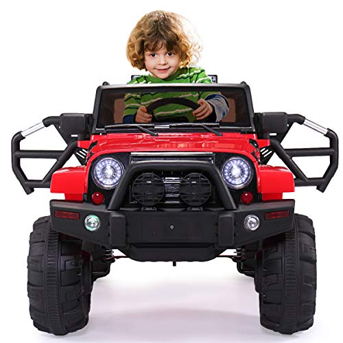 JAXPETY Kids Ride On Truck Battery Powered Electric Car Jeep W/Remote Control (Red)