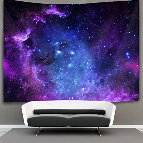 JACINTAN Blue Purple Galaxy Wall Tapestry Hippie Art Tapestry Wall Hanging Home Decor Extra large tablecloths 60x90 inches For Bedroom Living Room Dorm Room