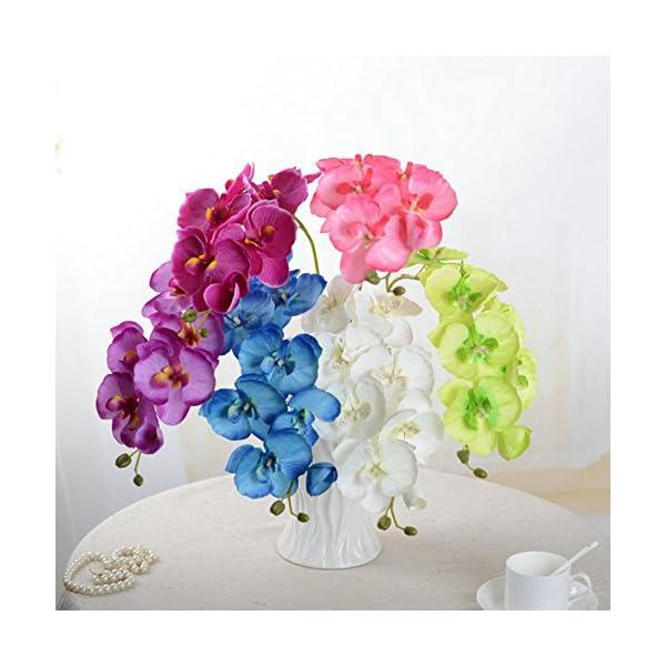 SUREH Ramos de flores artificiales de Phalaenopsis de 72,4 cm, 8 cabezas de tallos de orquídeas de tacto real para…