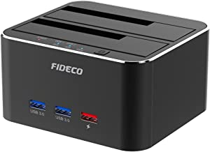 FIDECO Hard Drive Docking Station, USB 3.0 to SATA HDD Docking Station Dual-Bay External Hard Drive Dock with Offline Clone Function for 2.5