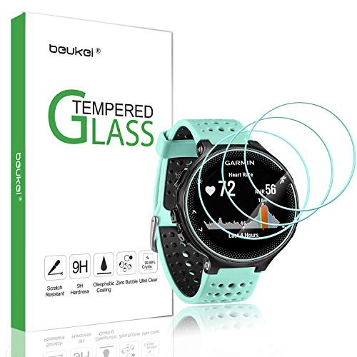 (3 Pack) Beukei for Garmin Forerunner 235 225 620 220 230 630 Screen Protector Tempered Glass, Anti Scratch, Bubble Free