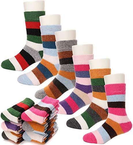 Kids Wool Socks 6 Pairs Toddlers Boys Girls Warm Winter Thermal Striped Crew Socks(Color Stripe,8-12Y)