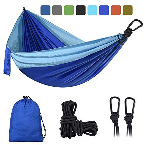 XiuLi Hammock for Camping - Single & Double Wise Owl Outfitters Hammocks Gear for The Outdoors Backpacking Survival or Travel - Portable Lightweight Parachute Nylon (Color : Light Blue/Dark Blue)