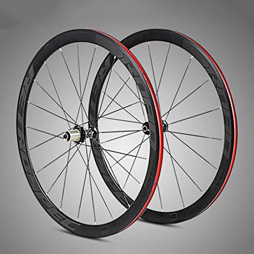 MENUDOWN Fahrrad Laufradsatz,Super-Licht Aluminium Vier-Perlin Flache Speichen Racing 40 Felgen Rennrad Rad 700C Mit Anti- Cursor,Black