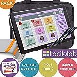 FACILOTAB Pack L 10,1 Pouces WiFi/3G+ - 32 Go - Android 9 + Support + Sacoche + 2 Stylets (Tablette simplifiée pour Seniors)