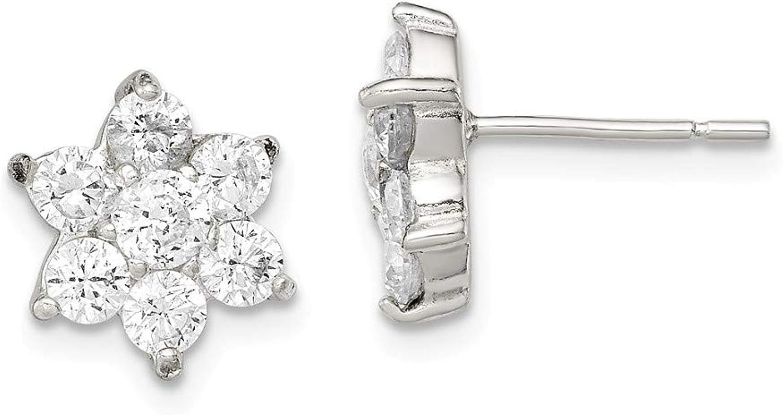 Beautiful Sterling silver 925 sterling Sterling Silver Floral CZ Earrings