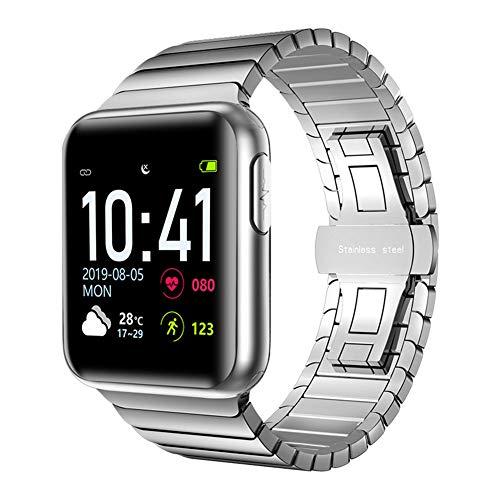 Hxl Smartwatch 1,3 Zoll Voll Touchscreen Sportuhr Armband Aktivitätstracker mit Herzfrequenz Schlaftracker Pulsoximeter Blutdruck Messgeräte Wasserdicht IP68 Schrittzähler,Silber